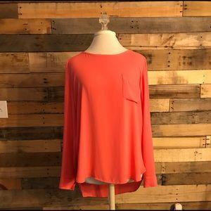 Ann Taylor Loft Pink Long-sleeve Pocket Blouse L